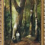 Munkácsy másolat - Erdőrészlet két alakkal | 40x60 cm | olaj, vászon