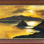 A tengerpart esti fényei | 40x70 cm | olaj, kasírozott vászon