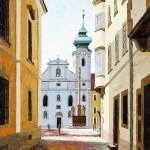 Győr, Loyolai Szent Ignácz bencés templom | 40x50 cm | olaj, farost
