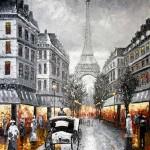 Párizs, Eiffel torony esti fényekkel | 150x82,5 cm | olaj, vászon